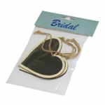 B2088 Wooden Heart with Blackboard: Pack of 3: Natural Wood